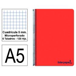 Cuaderno espiral tapa de polipropileno liderpapel serie wonder en formato din a-5, 120 hj. 90 grs/m². 5x5 c/m. color rojo.