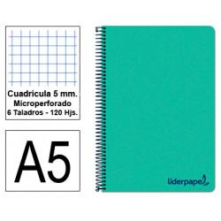 Cuaderno espiral tapa de polipropileno liderpapel serie wonder en formato din a-5, 120 hj. 90 grs/m². 5x5 c/m. color verde.