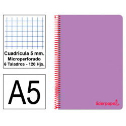 Cuaderno espiral tapa de polipropileno liderpapel serie wonder en formato din a-5, 120 hj. 90 grs/m². 5x5 c/m. color violeta.