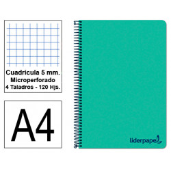 Cuaderno espiral tapa de polipropileno liderpapel serie wonder en formato din a-4, 120 hj. 90 grs/m². 5x5 c/m. color verde.