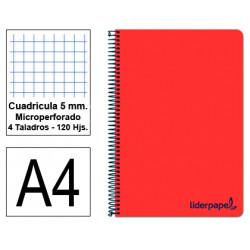 Cuaderno espiral tapa de polipropileno liderpapel serie wonder en formato din a-4, 120 hj. 90 grs/m². 5x5 c/m. color rojo.