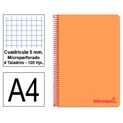 Cuaderno espiral tapa de polipropileno liderpapel serie wonder en formato din a-4, 120 hj. 90 grs/m². 5x5 c/m. color naranja.