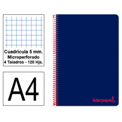 Cuaderno espiral tapa de polipropileno liderpapel serie wonder en formato din a-4, 120 hj. 90 grs/m². 5x5 c/m. color azul.