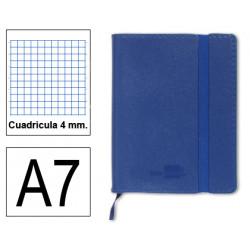 Cuaderno encolado tapa símil piel flexible liderpapel en formato din a-7, 120 hj. 70 grs/m². 4x4 s/m. color azul.