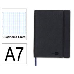 Cuaderno encolado tapa símil piel flexible liderpapel en formato din a-7, 120 hj. 70 grs/m². 4x4 s/m. color negro.
