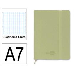 Cuaderno encolado tapa símil piel flexible liderpapel en formato din a-7, 120 hj. 70 grs/m². 4x4 s/m. color verde.