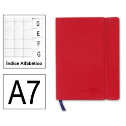 Cuaderno encolado tapa símil piel flexible liderpapel en formato din a-7, 120 hj. 70 grs/m². índice alfabético s/m. color rojo.