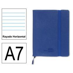 Cuaderno encolado tapa símil piel flexible liderpapel en formato din a-7, 120 hj. 70 grs/m². rayado horizontal s/m. color azul.