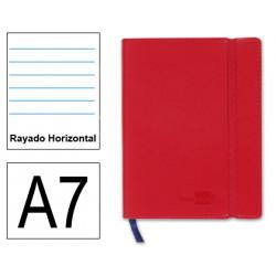 Cuaderno encolado tapa símil piel flexible liderpapel en formato din a-7, 120 hj. 70 grs/m². rayado horizontal s/m. color rojo.