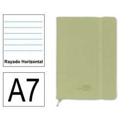 Cuaderno encolado tapa símil piel flexible liderpapel en formato din a-7, 120 hj. 70 grs/m². rayado horizontal s/m. color verde.