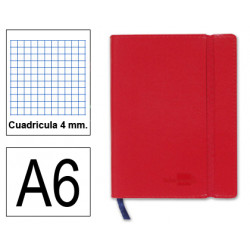 Cuaderno encolado tapa símil piel flexible liderpapel en formato din a-6, 120 hj. 70 grs/m². 4x4 s/m. color rojo.