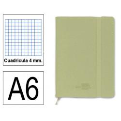 Cuaderno encolado tapa símil piel flexible liderpapel en formato din a-6, 120 hj. 70 grs/m². 4x4 s/m. color verde.
