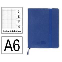 Cuaderno encolado tapa símil piel flexible liderpapel en formato din a-6, 120 hj. 70 grs/m². índice alfabético s/m. color azul.