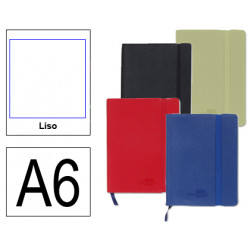Cuaderno encolado tapa símil piel flexible liderpapel en formato din a-6, 120 hj. 70 grs/m². liso s/m. colores surtidos.
