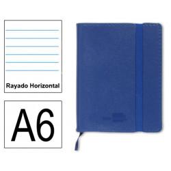 Cuaderno encolado tapa símil piel flexible liderpapel en formato din a-6, 120 hj. 70 grs/m². rayado horizontal s/m. color azul.