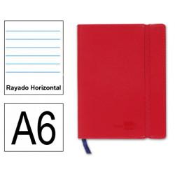 Cuaderno encolado tapa símil piel flexible liderpapel en formato din a-6, 120 hj. 70 grs/m². rayado horizontal s/m. color rojo.
