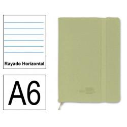 Cuaderno encolado tapa símil piel flexible liderpapel en formato din a-6, 120 hj. 70 grs/m². rayado horizontal s/m. color verde.