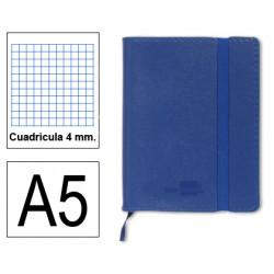 Cuaderno encolado tapa símil piel flexible liderpapel en formato din a-5, 120 hj. 70 grs/m². 4x4 s/m. color azul.