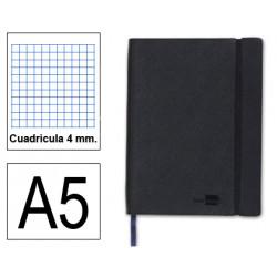 Cuaderno encolado tapa símil piel flexible liderpapel en formato din a-5, 120 hj. 70 grs/m². 4x4 s/m. color negro.