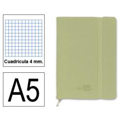 Cuaderno encolado tapa símil piel flexible liderpapel en formato din a-5, 120 hj. 70 grs/m². 4x4 s/m. color verde.