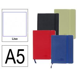 Cuaderno encolado tapa símil piel flexible liderpapel en formato din a-5, 120 hj. 70 grs/m². liso s/m. colores surtidos.