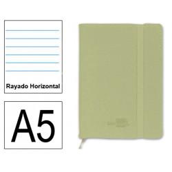 Cuaderno encolado tapa símil piel flexible liderpapel en formato din a-5, 120 hj. 70 grs/m². rayado horizontal s/m. color verde.