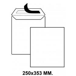 Bolsa con tira de silicona up en formato 250x353 mm. offset, 100 grs/m². color blanco.