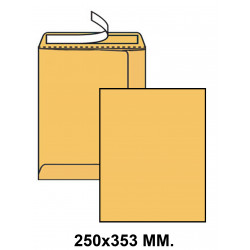 Bolsa con tira de silicona up en formato 250x353 mm. kraft verjurado, 90 grs/m². color marrón.