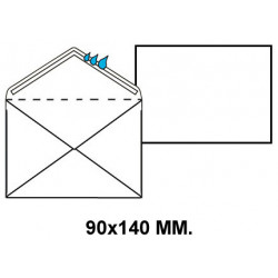 Sobre engomado liderpapel en formato 90x140 mm. registro extra, 120 grs/m². color blanco, caja de 100 uds.