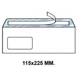 Sobre con tira de silicona up en formato 115x225 mm. con ventana izquierda de 45X100 mm. offset, 90 grs/m². color blanco.