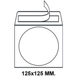 Sobre con tira de silicona sam en formato 125x125 mm. con ventana central circular de Ø 108 mm. para cd/dvd, paquete de 50 uds.