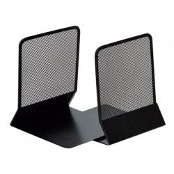 Apoyalibros metálico de rejilla q-connect en formato 165x152x135 mm. color negro, pack de 2 uds.