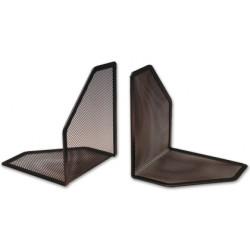 Apoyalibros metálico de rejilla q-connect en formato 170x140x135 mm. color negro, pack de 2 uds.