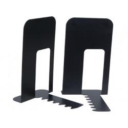 Apoyalibros metálico de rejilla q-connect en formato 191x140x178 mm. color negro, pack de 2 uds.