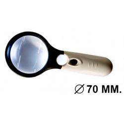 Lupa de lectura eléctrica q-connect, lente de pmma con 3 leds, 2 aumentos, diámetro de 70 mm.
