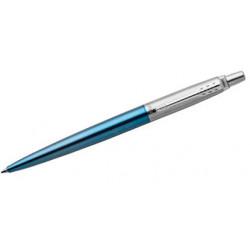 Bolígrafo retráctil parker colección jotter core waterloo, lacado en color azul turquesa, presentación en estuche.