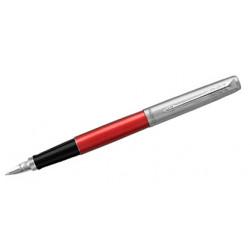 Pluma estilográfica parker colección jotter kensington, lacado en color rojo brillante, presentación en estuche.