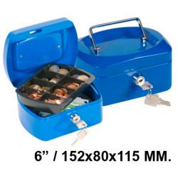 "Caja de caudales q-connect en formato 6"" / 152x80x115 mm. color azul."
