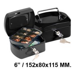 "Caja de caudales q-connect en formato 6"" / 152x80x115 mm. color negro."