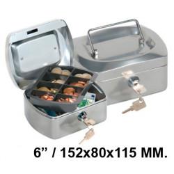 """Caja de caudales q-connect en formato 6"""" / 152x80x115 mm. color plata."""