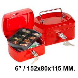 "Caja de caudales q-connect en formato 6 "" / 152x80x115 mm. color rojo."