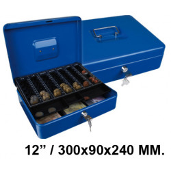 "Caja de caudales q-connect en formato 12"" / 300x90x240 mm. color azul."