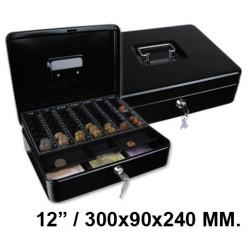 "Caja de caudales q-connect en formato 12"" / 300x90x240 mm. color negro."