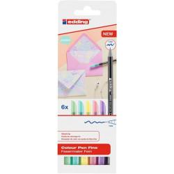 Rotulador punta de fibra edding 1200 colores pastel, caja de 6 colores.