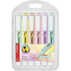 Marcador fluorescente stabilo swing cool pastel en colores surtidos, estuche de 6 uds..