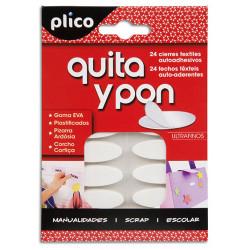 Velcro autoadhesivo plico ovalado de 35x12 mm. en color blanco, blister de 24 unidades.