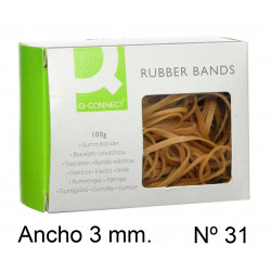 Gomas elásticas q-connect anchas de 60x3 mm. caja de 100 grs. con ventana.