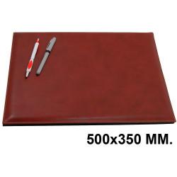 Vade de sobremesa con esquinas redondeadas y costura fina csp en formato 500x350 mm. color marrón.