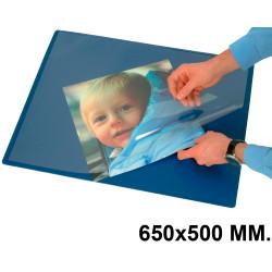 Vade de sobremesa q-connect con solapa transparente antirreflectante en formato 650x500 mm. color azul.