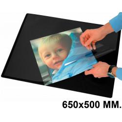 Vade de sobremesa q-connect con solapa transparente antirreflectante en formato 650x500 mm. color negro.